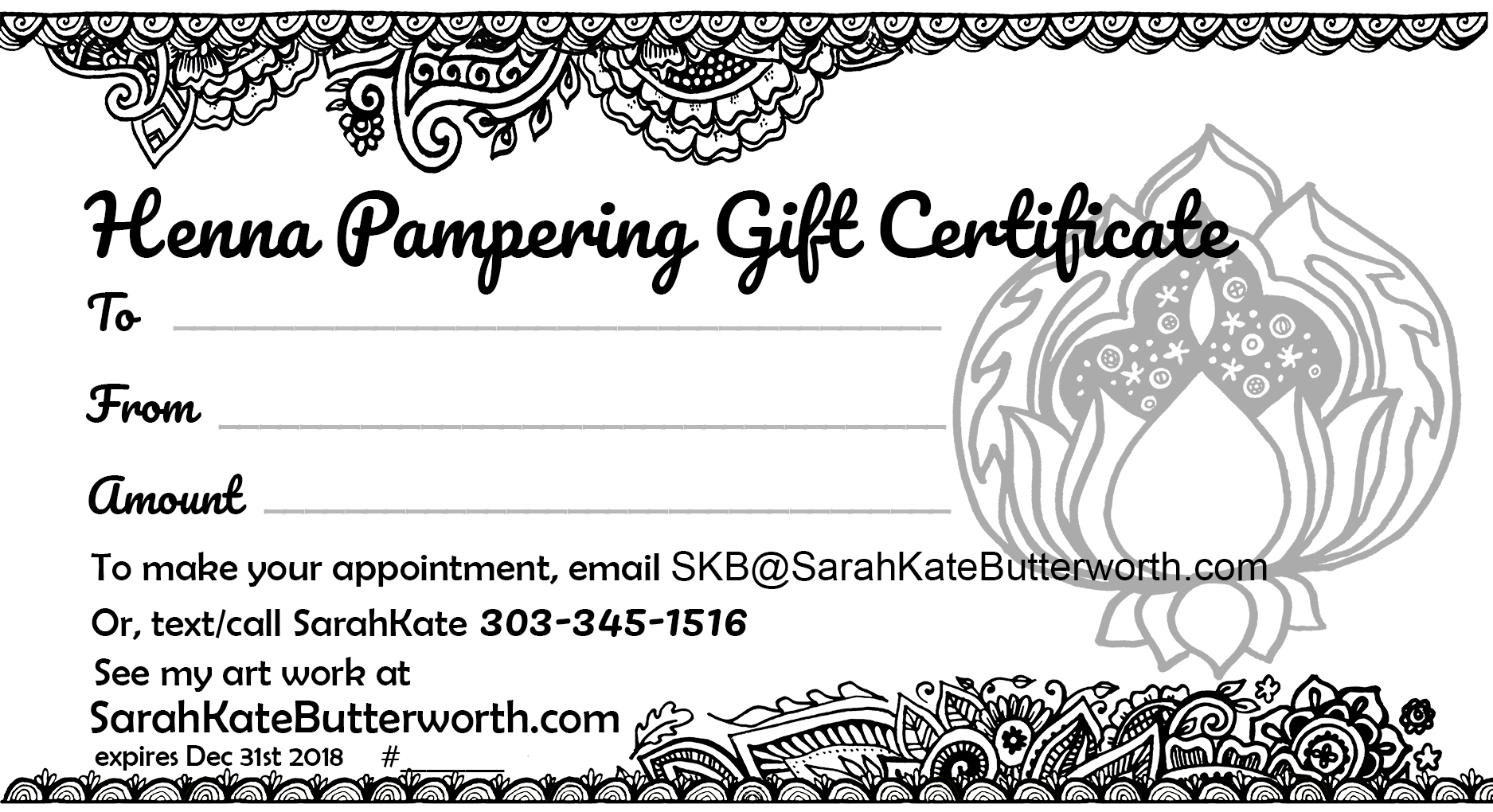 SarahKates gifts of Henna for women