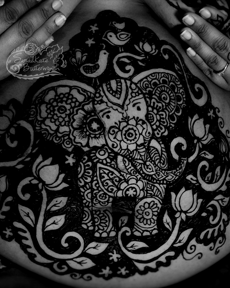Henna lotus pregnancy designs sarahkate butterworth this westminster mama came to my studio with a request for an elephant 3 birds and lotus flowers to celebrate her pregnancy izmirmasajfo